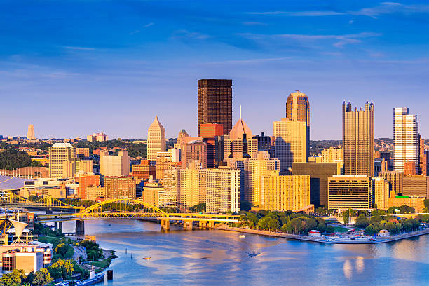 Pittsburgh Pennsylvania Cityscape Pittsburgh, Pennsylvania, USA at dusk. pittsburgh stock pictures, royalty-free photos & images
