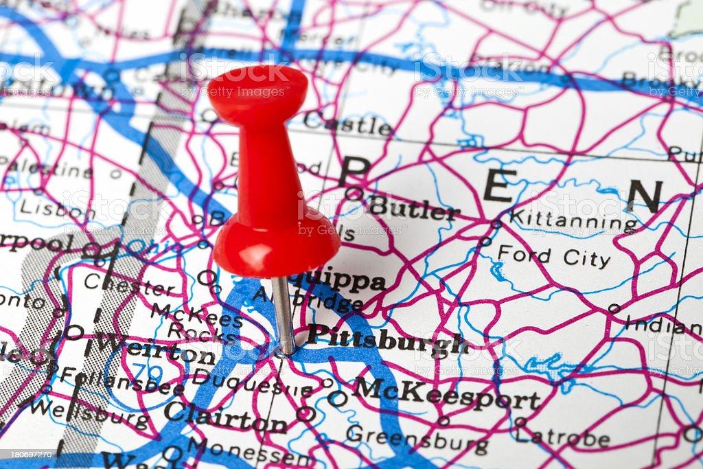 \'Thumbtack Marking Off Pittsburgh, Pennsylvania, USA.\'