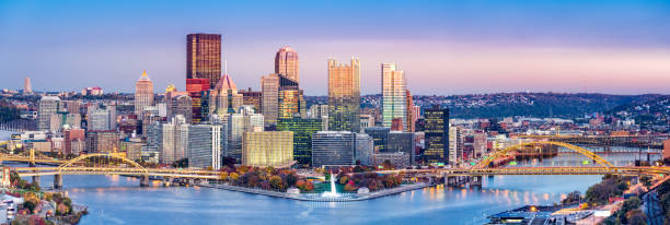 Pittsburgh, Pennsylvania skyline at dusk. Pittsburgh, Pennsylvania skyline at dusk. Located at the confluence of the Allegheny, Monongahela and Ohio rivers, Pittsburgh is also known as
