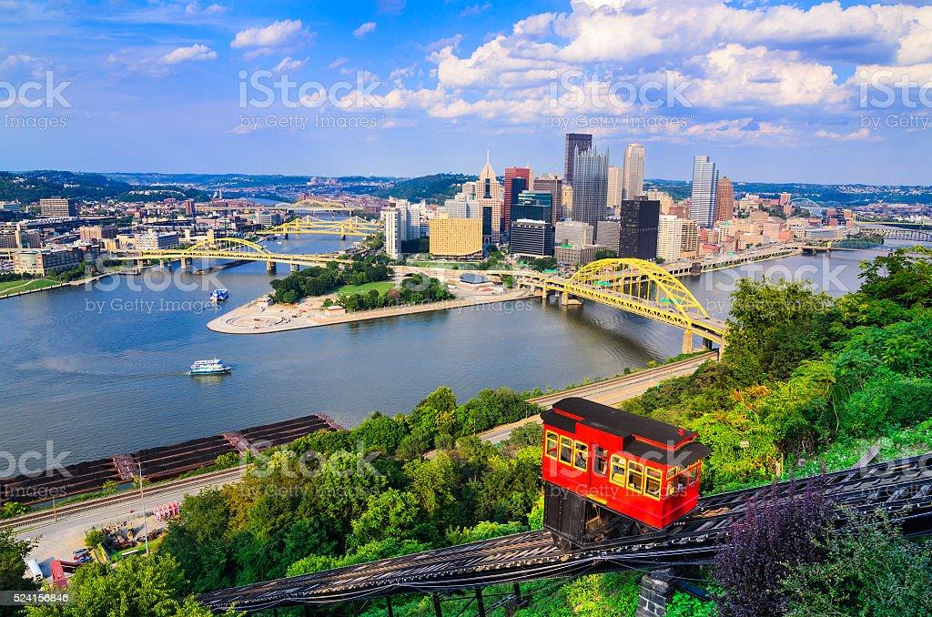 Pittsburgh Pennsylvania Skyline Pittsburgh, Pennsylvania, USA downtown skyline and incline. Allegheny River Stock Photo