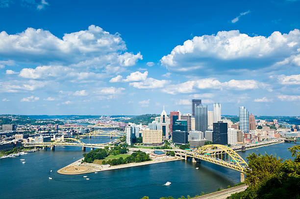Pittsburgh, Pennsylvania Skyline With Allegheny and Monongahela Rivers Pittsburgh from Grandview Avenue. pittsburgh stock pictures, royalty-free photos & images
