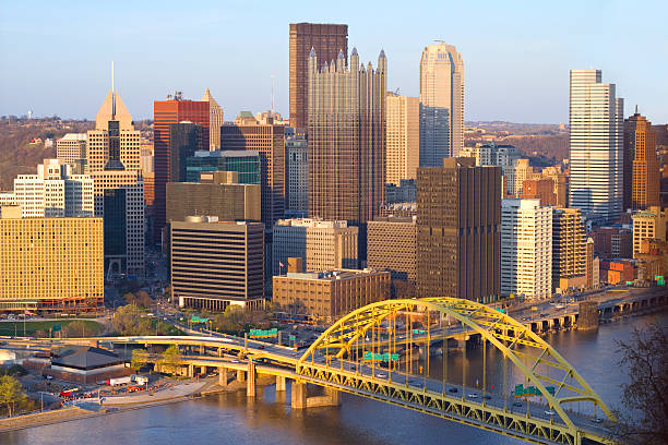 Pittsburgh, Pennsylvania, USA Cityscape of Pittsburgh, Pennsylvania, USA pittsburgh bridge stock pictures, royalty-free photos & images