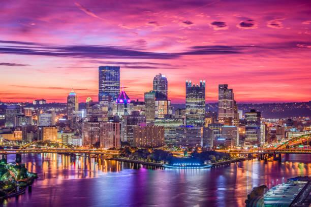 Pittsburgh, Pennsylvania, USA Pittsburgh, Pennsylvania, USA city skyline. monongahela river stock pictures, royalty-free photos & images