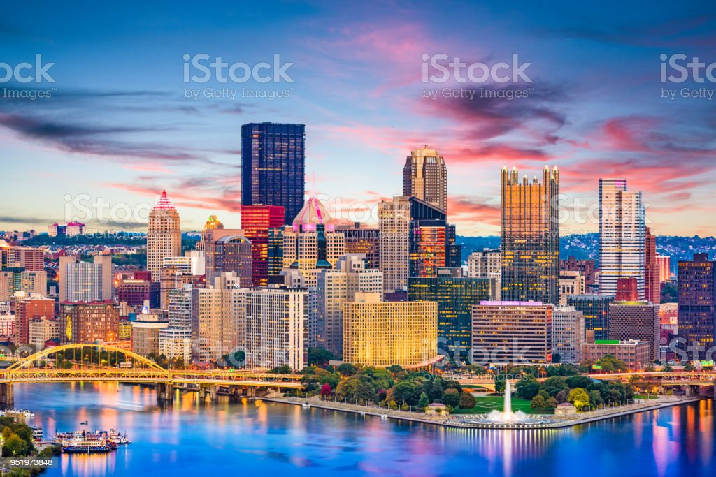 Pittsburgh, Pennsylvania, USA River and Skyline stock photo
