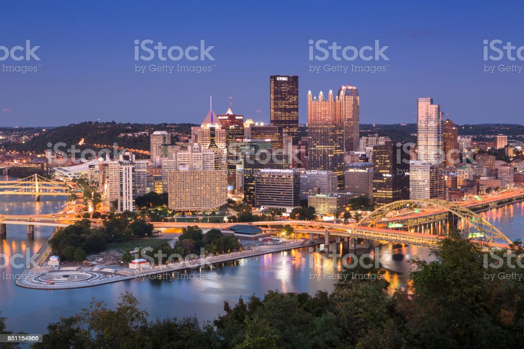 Pittsburgh Pennsylvania USA Skyline at night stock photo