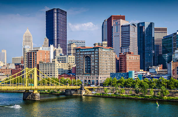Pittsburgh Pittsburgh, Pennsylvania, USA daytime downtown scene over the Allegheny River. pittsburgh stock pictures, royalty-free photos & images