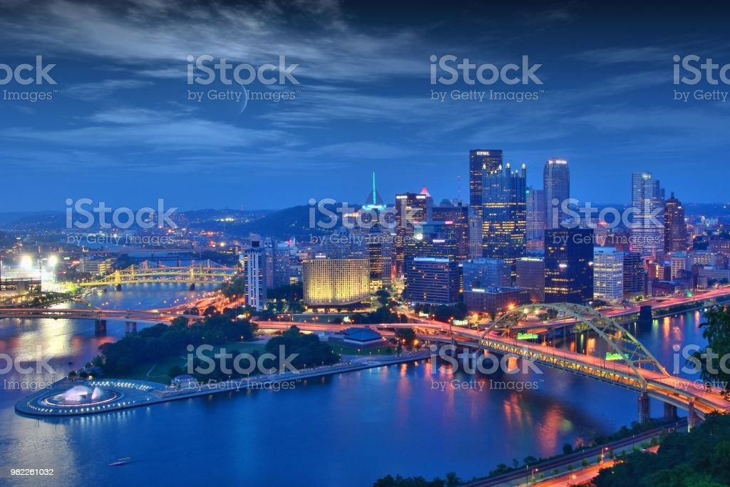 Pittsburgh Pittsburgh skyline at night Allegheny River Stock Photo