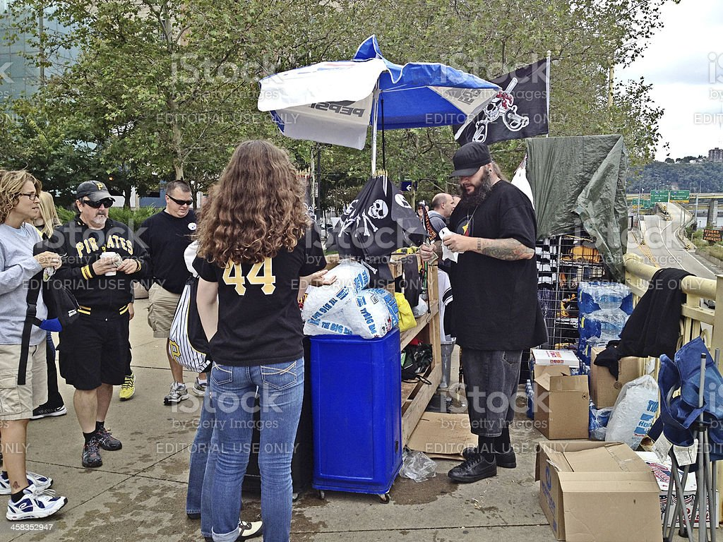 Pittsburgh Pirates Fans at Vendor Stand stock photo