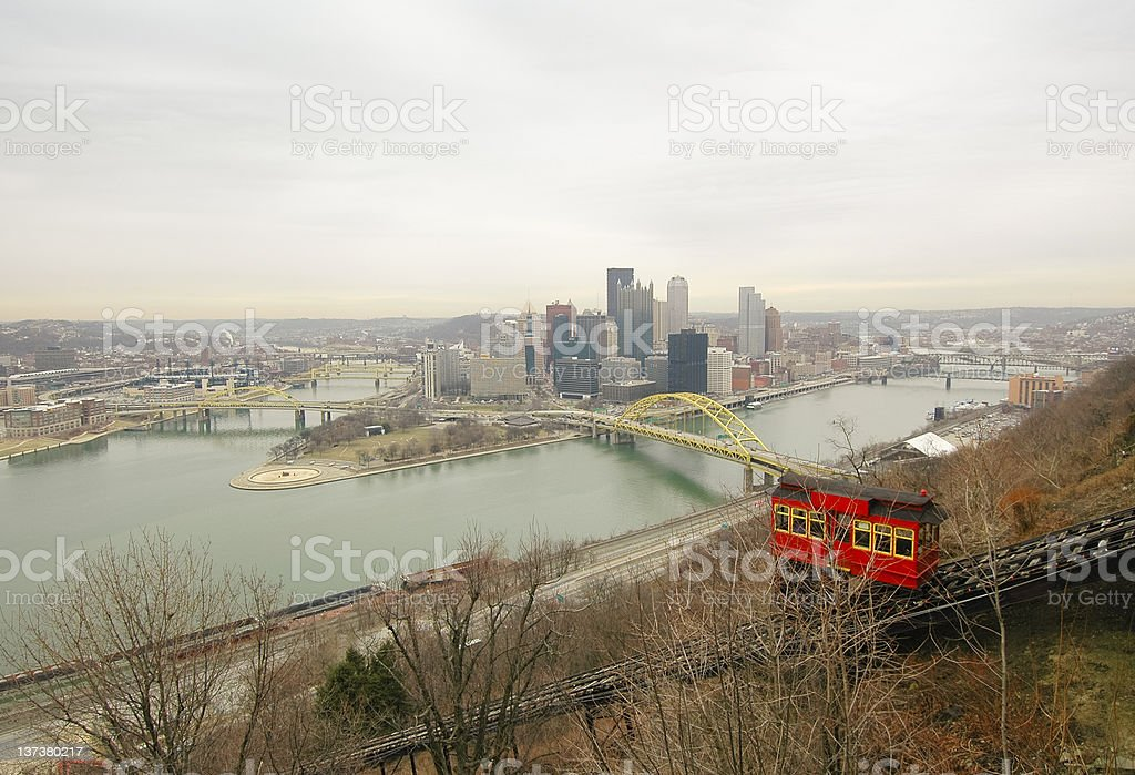 Pittsburgh Skyline and Duquesne Incline stock photo