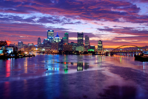 Pittsburgh Skyline at Night  pittsburgh stock pictures, royalty-free photos & images