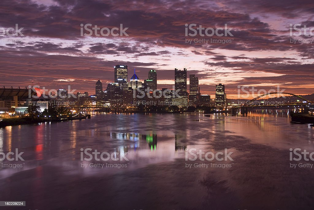 Pittsburgh Skyline at Night royalty-free stock photo