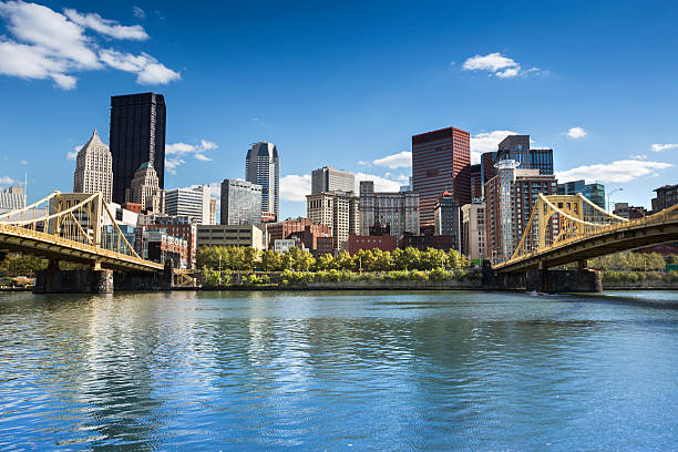 Pittsburgh Skyline Roberto Clemente Bridge and the Andy Warhol Bridge over Allegheny River Pittsburgh Pennsylvania USA monongahela river stock pictures, royalty-free photos & images