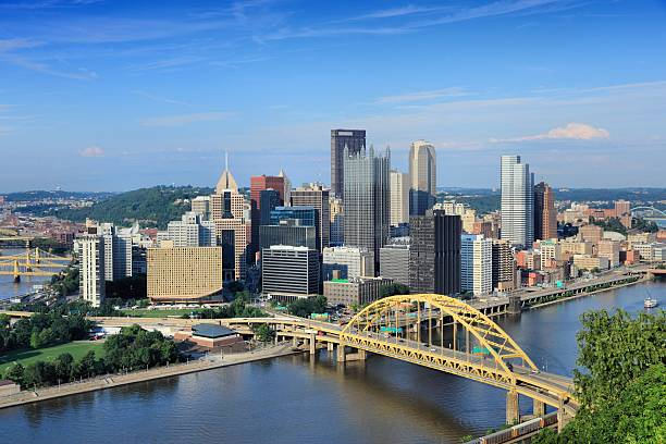 Pittsburgh skyline Pittsburgh skyline, Pennsylvania - city in the United States. View with Monongahela River. monongahela river stock pictures, royalty-free photos & images