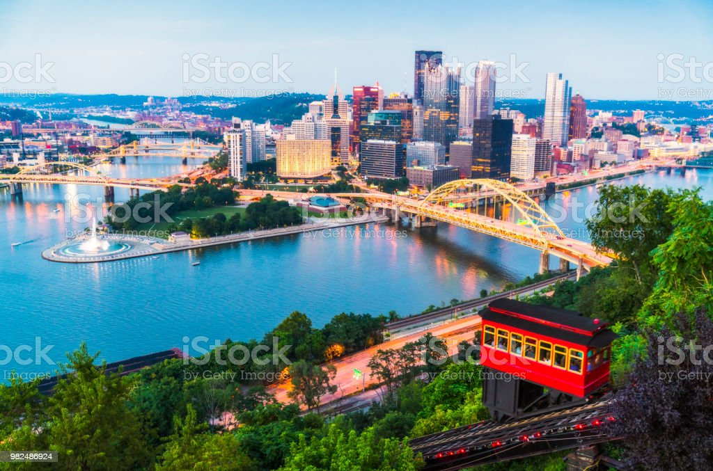 pittsburgh,pennsylvania,usa. 2017-08-20, beautiful pittsburgh at twilight. pittsburgh,pennsylvania,usa. 2017-08-20, beautiful pittsburgh at twilight. Aerial View Stock Photo