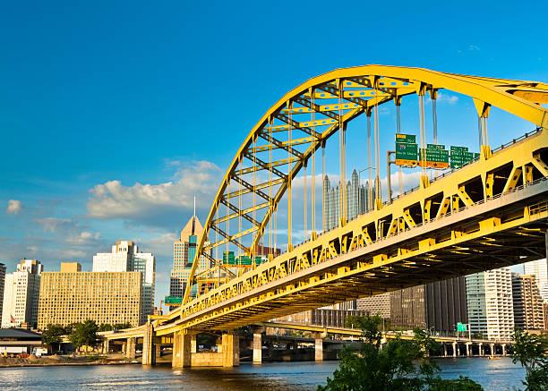 Pittsburgh's Fort Pitt Bridge Glowing in the Sunshine stock photo