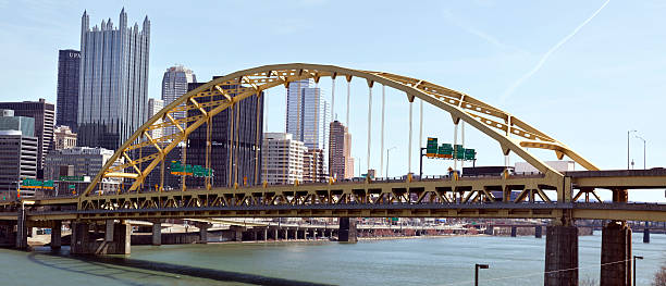 Pittsburgh's Fort Pitt Bridge Pittsburgh's Fort Pitt Bridge spanning the Monongahela River. Horizontal. pittsburgh bridge stock pictures, royalty-free photos & images