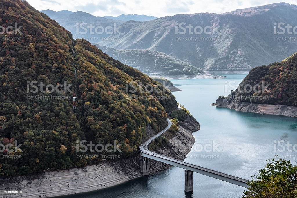 Piva Canyon with its fantastic reservoir. Montenegro, Balkans, Europe. stock photo