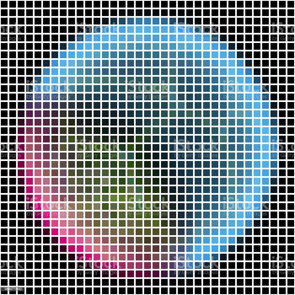 Pixel maping of shinning planet with silver blue pink atmosphere. stock photo