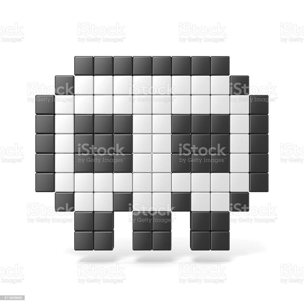 Pixelado 8 bits crânio ícone. Vista frontal. 3 D - foto de acervo