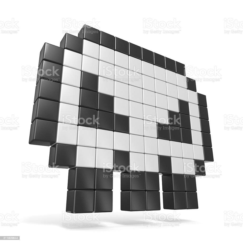Pixelado 8 bits crânio ícone. Vista lateral. 3 D - foto de acervo