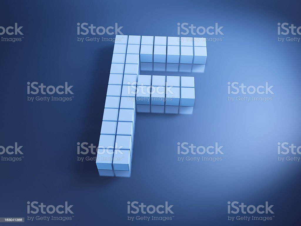 Pixelated Alphabet Letter F Blue Cubes royalty-free stock photo
