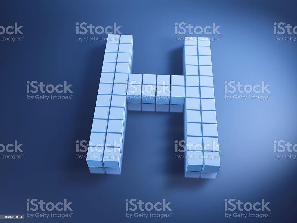 Pixelated Alphabet Letter H Blue Cubes royalty-free stock photo