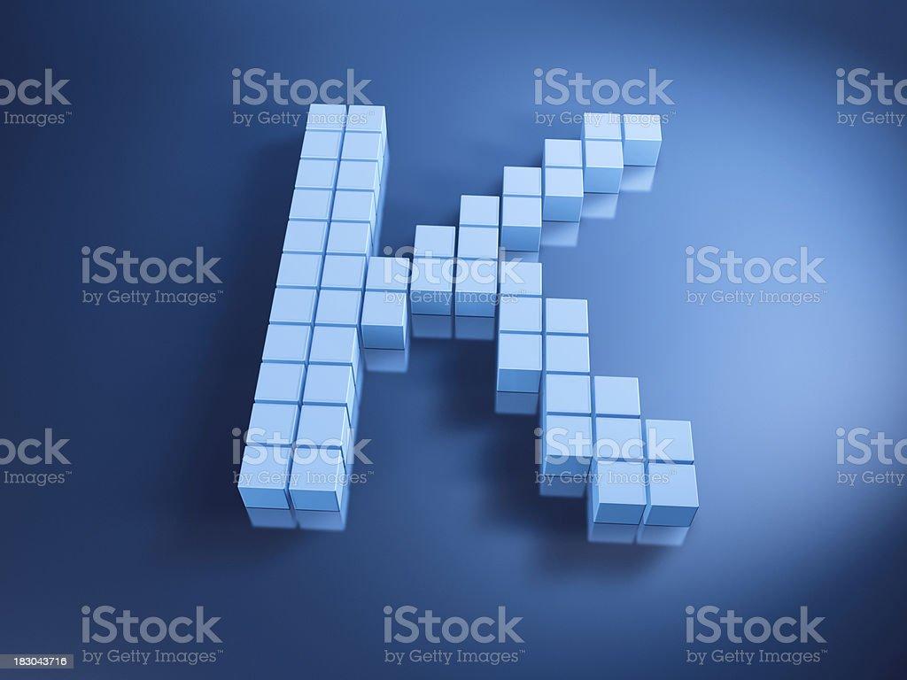 Pixelated Alphabet Letter K Blue Cubes royalty-free stock photo