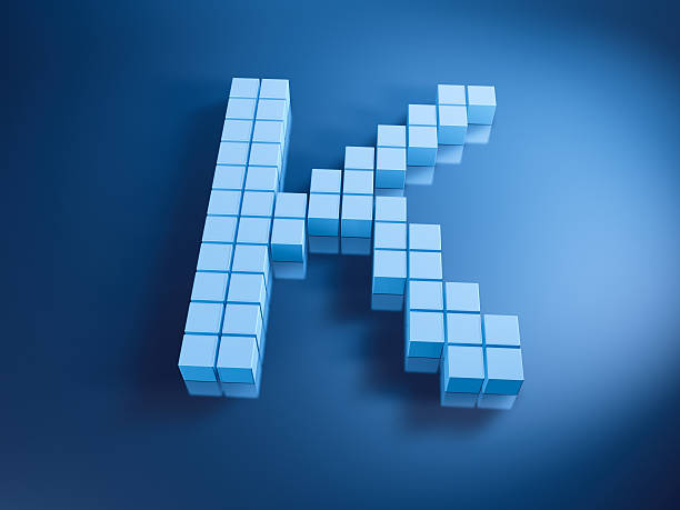 Pixelated Alphabet Letter K Blue Cubes 3D Render of a Letter K built with pixelated blue cubes. Very high resolution available! Use it for Your own composings!Related images: k icon stock pictures, royalty-free photos & images
