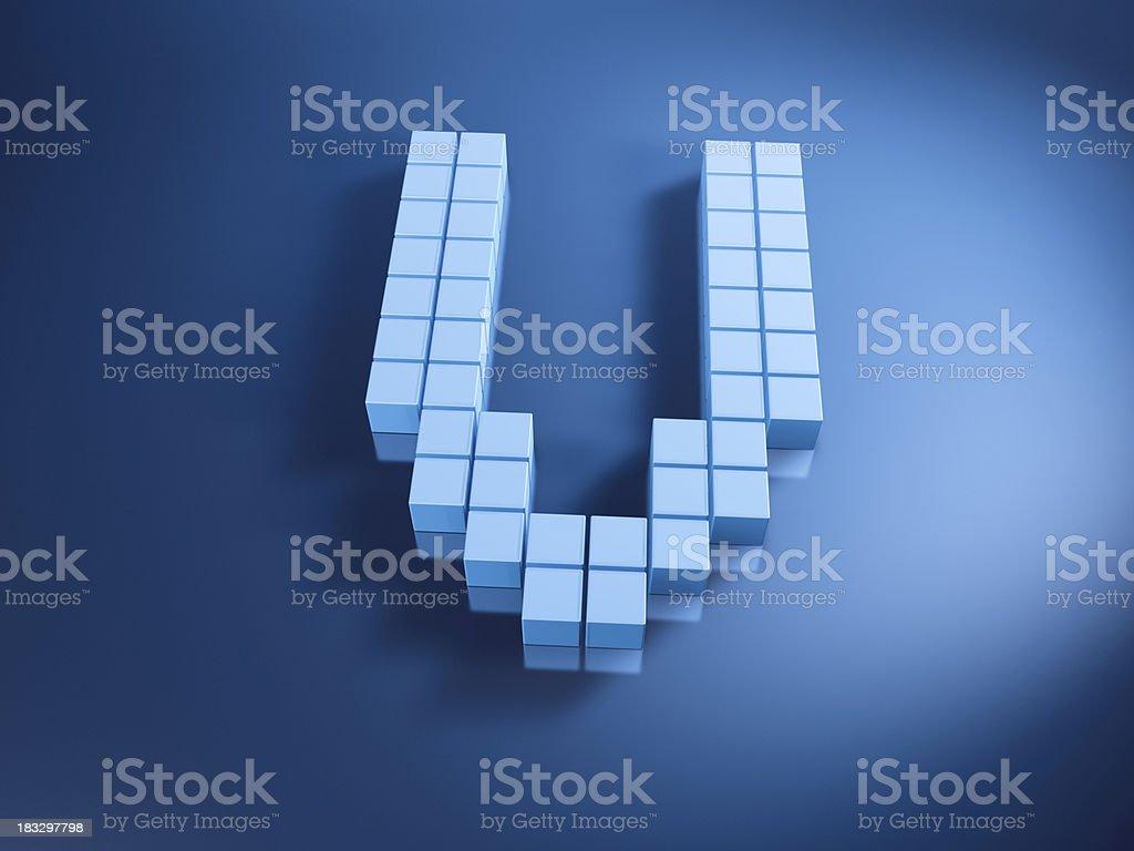 Pixelated Alphabet Letter V Blue Cubes royalty-free stock photo
