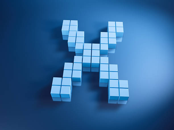 Pixelated Alphabet Letter X Blue Cubes 3D Render of a Letter X built with pixelated blue cubes. Very high resolution available! Use it for Your own composings! abstract 3d stock pictures, royalty-free photos & images