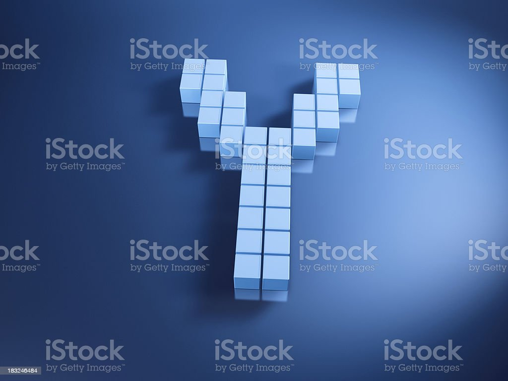 Pixelated Alphabet Letter Y Blue Cubes royalty-free stock photo