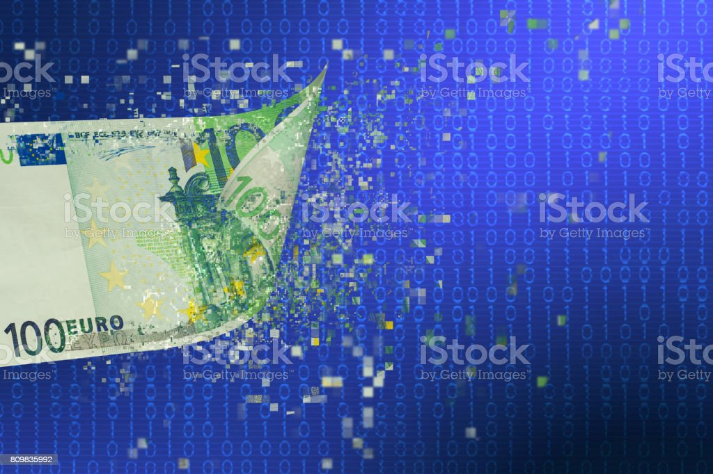 Pixelated euro currency floating over binary code stock photo
