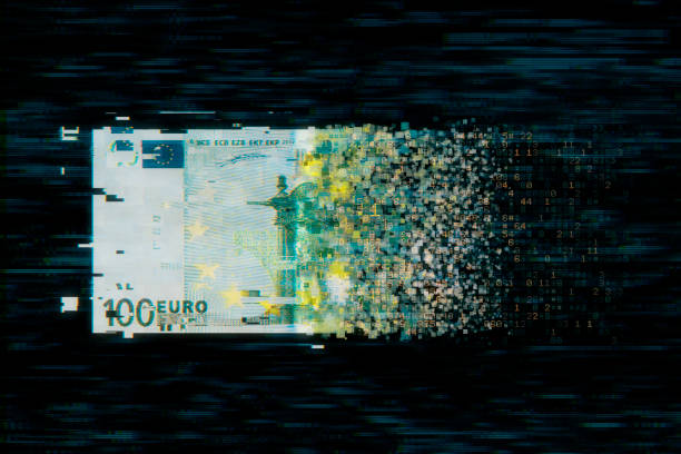 Pixelated european union currency on dark background stock photo