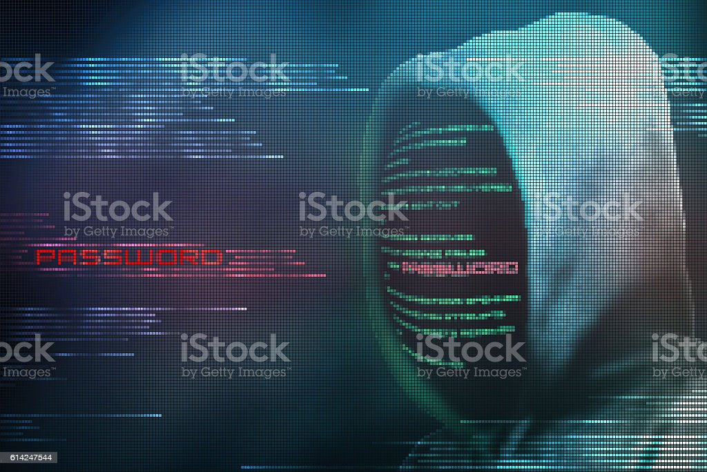 Pixelated hacker encoding password from internet secure code stock photo