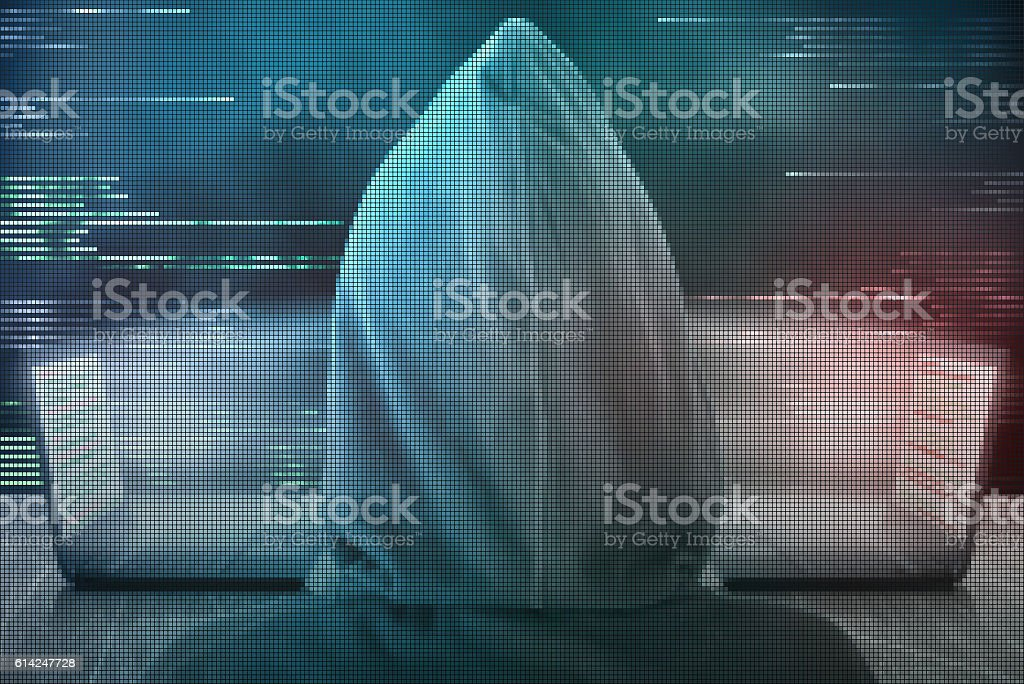 Pixelated hacker peek at digital data transfer between two compu stock photo