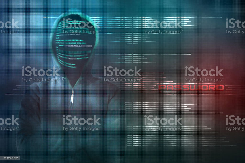 Pixelated hacker steals password with a cyber-attack stock photo