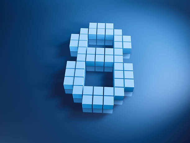 Pixelated Number Eight Blue Cubes 3D Render of a Number Eight built with pixelated blue cubes. Very high resolution available! Use it for Your own composings!Related images: blue 3d business NOT map NOT background stock pictures, royalty-free photos & images