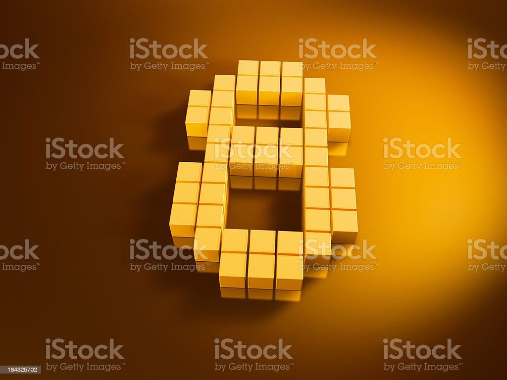Pixelated Number Eight Golden Cubes stock photo