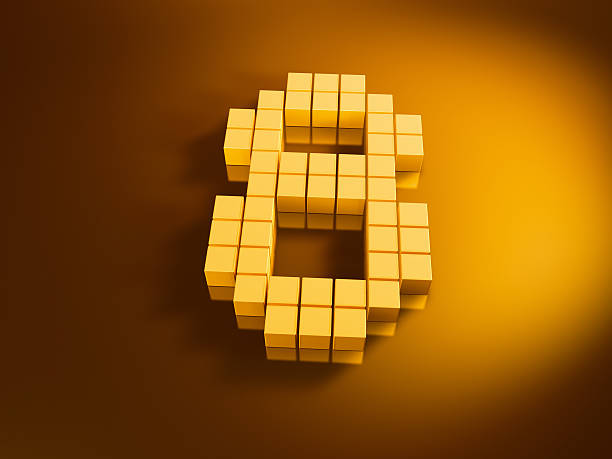 Pixelated Number Eight Golden Cubes 3D Render of a Number Eight built with pixelated golden cubes. Very high resolution available! Use it for Your own composings!Related images: golden cube stock pictures, royalty-free photos & images