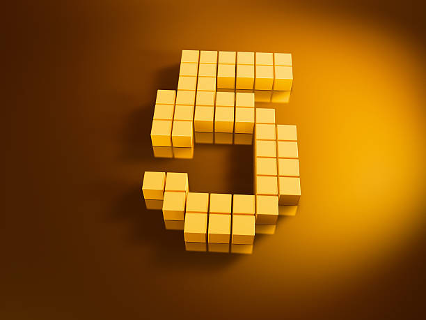 Pixelated Number Five Golden Cubes 3D Render of a Number Five built with pixelated golden cubes. Very high resolution available! Use it for Your own composings!Related images: golden cube stock pictures, royalty-free photos & images