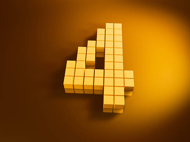 Pixelated Number Four Golden Cubes 3D Render of a Number Four built with pixelated golden cubes. Very high resolution available! Use it for Your own composings!Related images: golden cube stock pictures, royalty-free photos & images