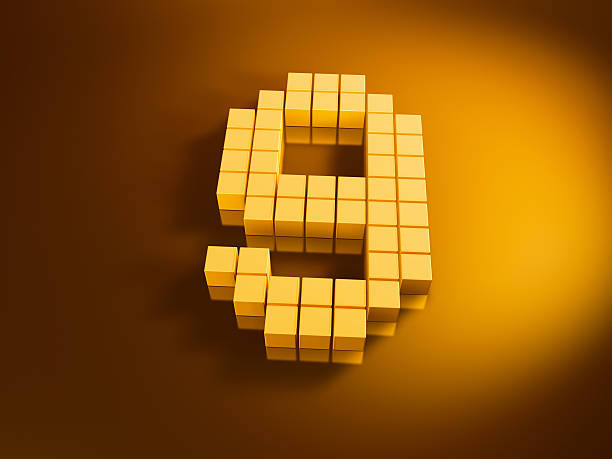 Pixelated Number Nine Golden Cubes 3D Render of a Number Nine built with pixelated golden cubes. Very high resolution available! Use it for Your own composings!Related images: golden cube stock pictures, royalty-free photos & images