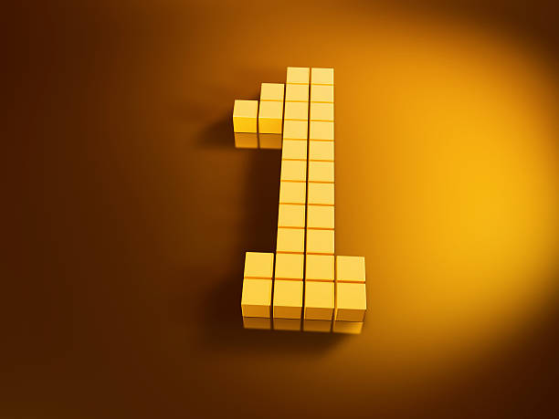 Pixelated Number One Golden Cubes 3D Render of a Number One built with pixelated golden cubes. Very high resolution available! Use it for Your own composings!Related images: golden cube stock pictures, royalty-free photos & images