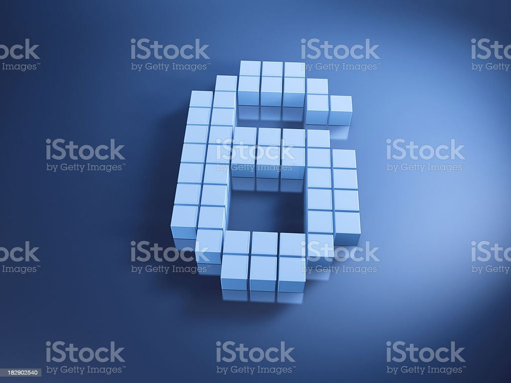 Pixelated Number Six Blue Cubes royalty-free stock photo