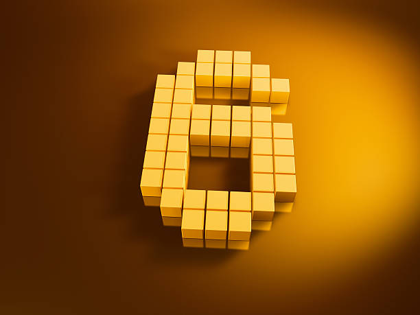Pixelated Number Six Golden Cubes 3D Render of a Number Six built with pixelated golden cubes. Very high resolution available! Use it for Your own composings!Related images: golden cube stock pictures, royalty-free photos & images