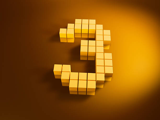 Pixelated Number Three Golden Cubes 3D Render of a Number Three built with pixelated golden cubes. Very high resolution available! Use it for Your own composings!Related images: golden cube stock pictures, royalty-free photos & images