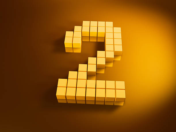 Pixelated Number Two Golden Cubes 3D Render of a Number Two built with pixelated golden cubes. Very high resolution available! Use it for Your own composings!Related images: golden cube stock pictures, royalty-free photos & images