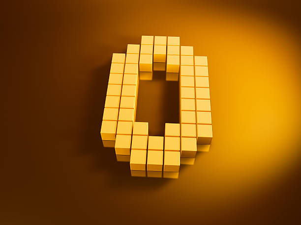 Pixelated Number Zero Golden Cubes 3D Render of a Number Zero built with pixelated golden cubes. Very high resolution available! Use it for Your own composings!Related images: golden cube stock pictures, royalty-free photos & images