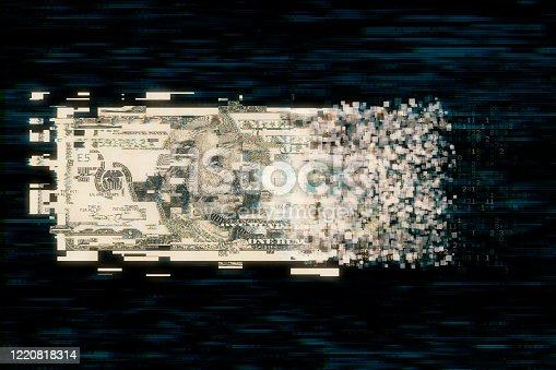 Pixelated us paper currency on dark background