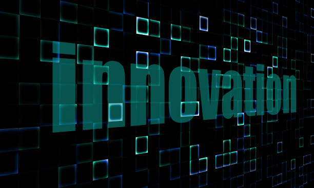 Pixelated words innovation on digital background Pixelated words innovation on digital background image with hi-res rendered artwork that could be used for any graphic design. entreprise stock pictures, royalty-free photos & images